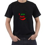 I am hot  Men s T-Shirt (Black) (Two Sided) Front