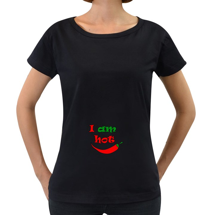 I am hot  Women s Loose-Fit T-Shirt (Black)