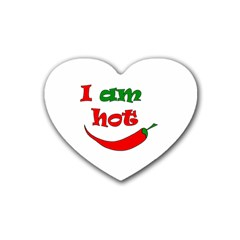 I Am Hot  Rubber Coaster (heart)