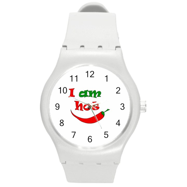 I am hot  Round Plastic Sport Watch (M)