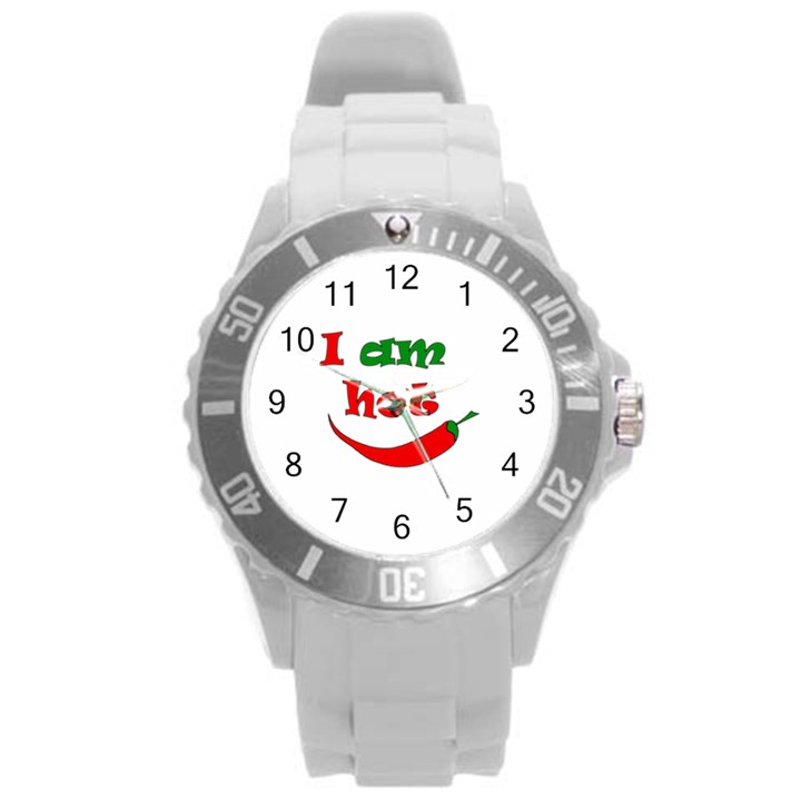 I am hot  Round Plastic Sport Watch (L)