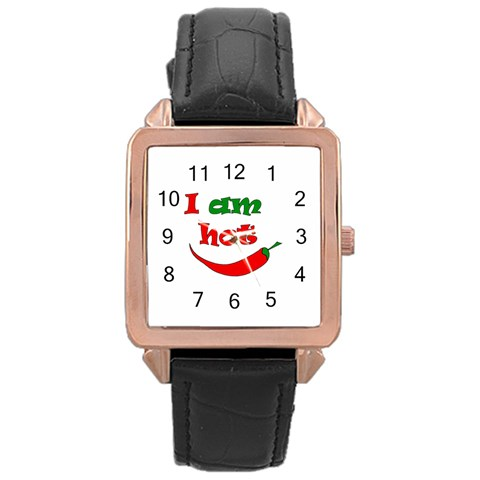 I am hot  Rose Gold Leather Watch