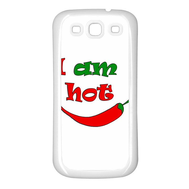 I am hot  Samsung Galaxy S3 Back Case (White)