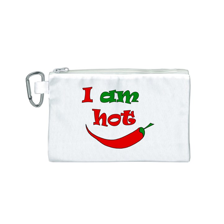 I am hot  Canvas Cosmetic Bag (S)