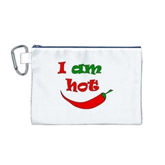 I Am Hot  Canvas Cosmetic Bag (m)