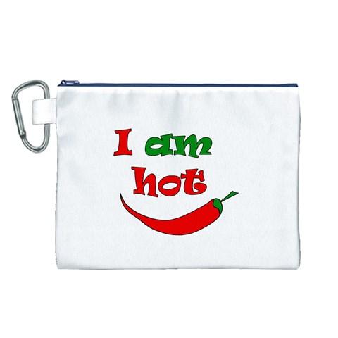 I am hot  Canvas Cosmetic Bag (L)