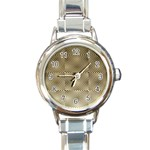 Fashion Style Glass Pattern Round Italian Charm Watch Front
