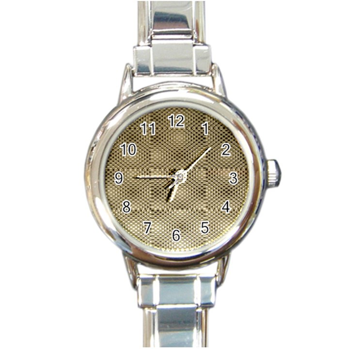 Fashion Style Glass Pattern Round Italian Charm Watch