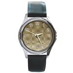 Fashion Style Glass Pattern Round Metal Watch Front
