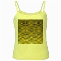 Fashion Style Glass Pattern Yellow Spaghetti Tank