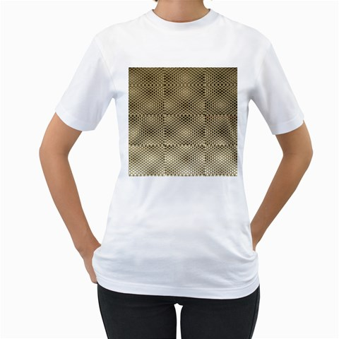 Fashion Style Glass Pattern Women s T-Shirt (White) (Two Sided)