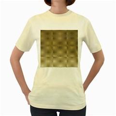 Fashion Style Glass Pattern Women s Yellow T-Shirt