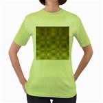 Fashion Style Glass Pattern Women s Green T-Shirt Front