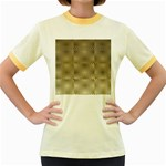 Fashion Style Glass Pattern Women s Fitted Ringer T-Shirts Front