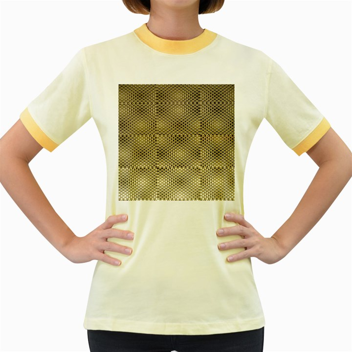 Fashion Style Glass Pattern Women s Fitted Ringer T-Shirts