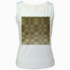 Fashion Style Glass Pattern Women s White Tank Top