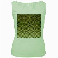 Fashion Style Glass Pattern Women s Green Tank Top