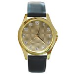 Fashion Style Glass Pattern Round Gold Metal Watch Front