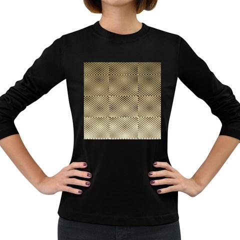 Fashion Style Glass Pattern Women s Long Sleeve Dark T-Shirts