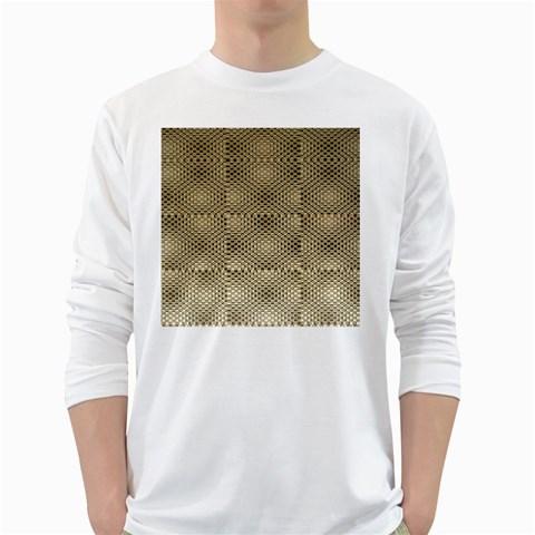 Fashion Style Glass Pattern White Long Sleeve T-Shirts