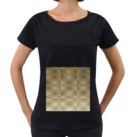 Fashion Style Glass Pattern Women s Loose-Fit T-Shirt (Black)