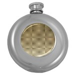 Fashion Style Glass Pattern Round Hip Flask (5 oz) Front