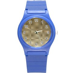 Fashion Style Glass Pattern Round Plastic Sport Watch (S)