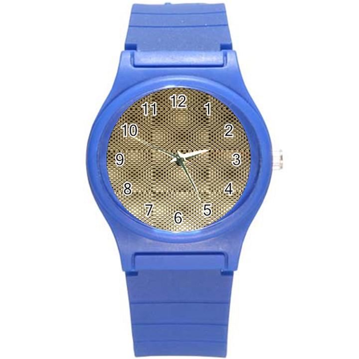 Fashion Style Glass Pattern Round Plastic Sport Watch (S)