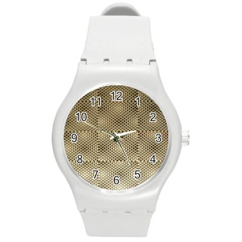 Fashion Style Glass Pattern Round Plastic Sport Watch (M)