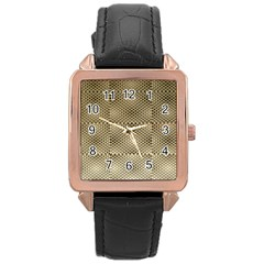 Fashion Style Glass Pattern Rose Gold Leather Watch