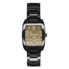 Fashion Style Glass Pattern Stainless Steel Barrel Watch