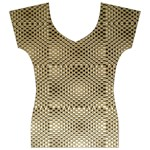 Fashion Style Glass Pattern Women s V-Neck Cap Sleeve Top Front