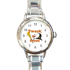 Twerk or treat - Funny Halloween design Round Italian Charm Watch