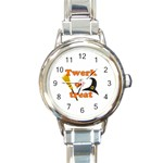 Twerk or treat - Funny Halloween design Round Italian Charm Watch Front