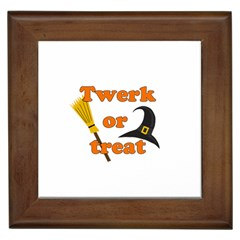 Twerk Or Treat   Funny Halloween Design Framed Tiles