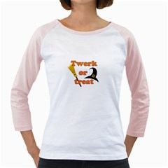 Twerk Or Treat   Funny Halloween Design Girly Raglans