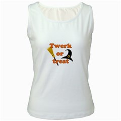 Twerk or treat - Funny Halloween design Women s White Tank Top
