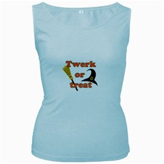Twerk or treat - Funny Halloween design Women s Baby Blue Tank Top
