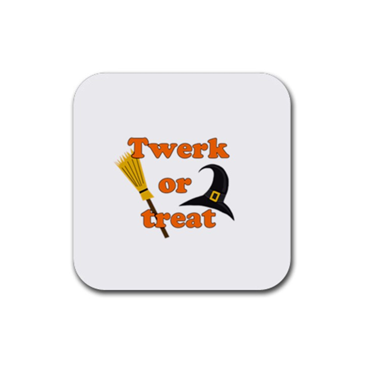 Twerk or treat - Funny Halloween design Rubber Coaster (Square)