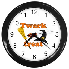 Twerk or treat - Funny Halloween design Wall Clocks (Black)