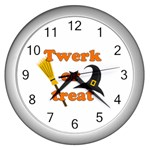 Twerk or treat - Funny Halloween design Wall Clocks (Silver)  Front