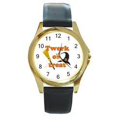 Twerk or treat - Funny Halloween design Round Gold Metal Watch