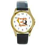 Twerk or treat - Funny Halloween design Round Gold Metal Watch Front