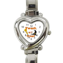 Twerk or treat - Funny Halloween design Heart Italian Charm Watch