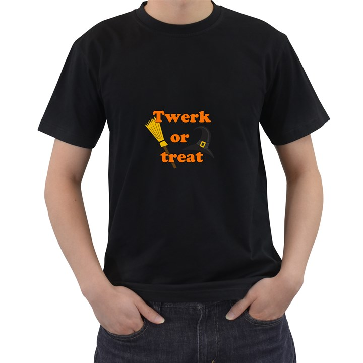 Twerk or treat - Funny Halloween design Men s T-Shirt (Black) (Two Sided)