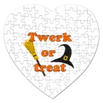 Twerk or treat - Funny Halloween design Jigsaw Puzzle (Heart) Front