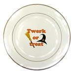 Twerk or treat - Funny Halloween design Porcelain Plates Front