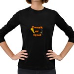 Twerk or treat - Funny Halloween design Women s Long Sleeve Dark T-Shirts Front
