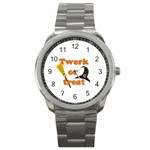 Twerk or treat - Funny Halloween design Sport Metal Watch Front