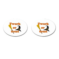 Twerk Or Treat   Funny Halloween Design Cufflinks (oval)